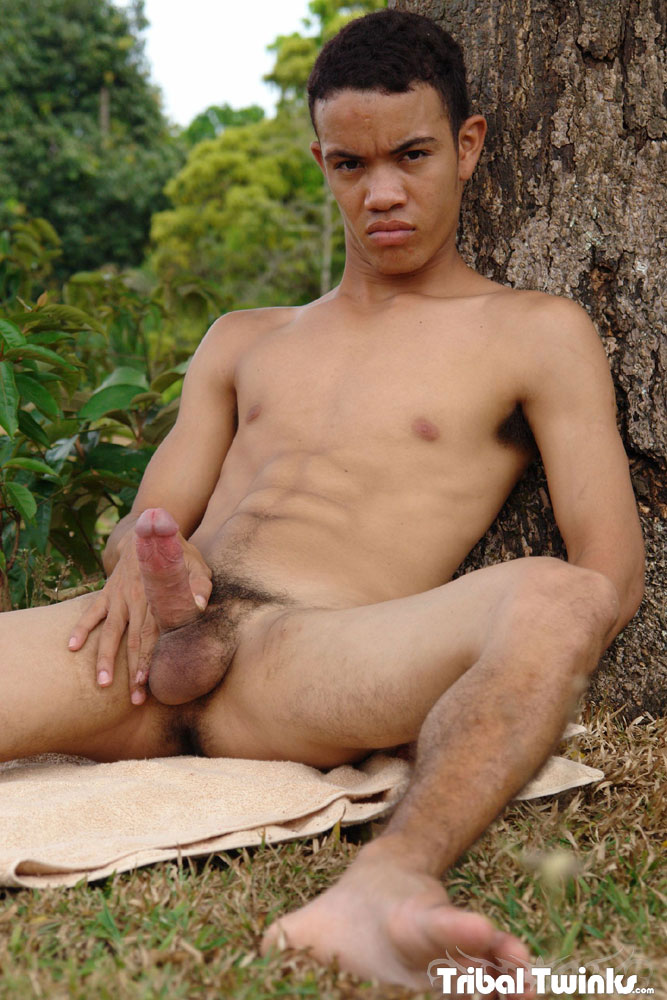 Tribal-Twinks-Armando-Twink-Black-Uncut-Cock-Jerk-Off-14 Tribal Twinks:  Amateur Armando Jerks His Thick Uncut Black Cock