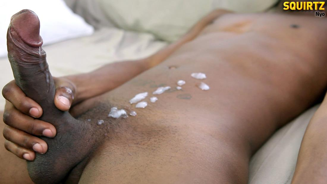 Squirtz-Nyo-Big-Uncut-Black-Cock-Jerking-Off-Cum-Shot-Amateur-Gay-Porn-11 Young Black Guy Jerking His Massive Uncut Black Cock
