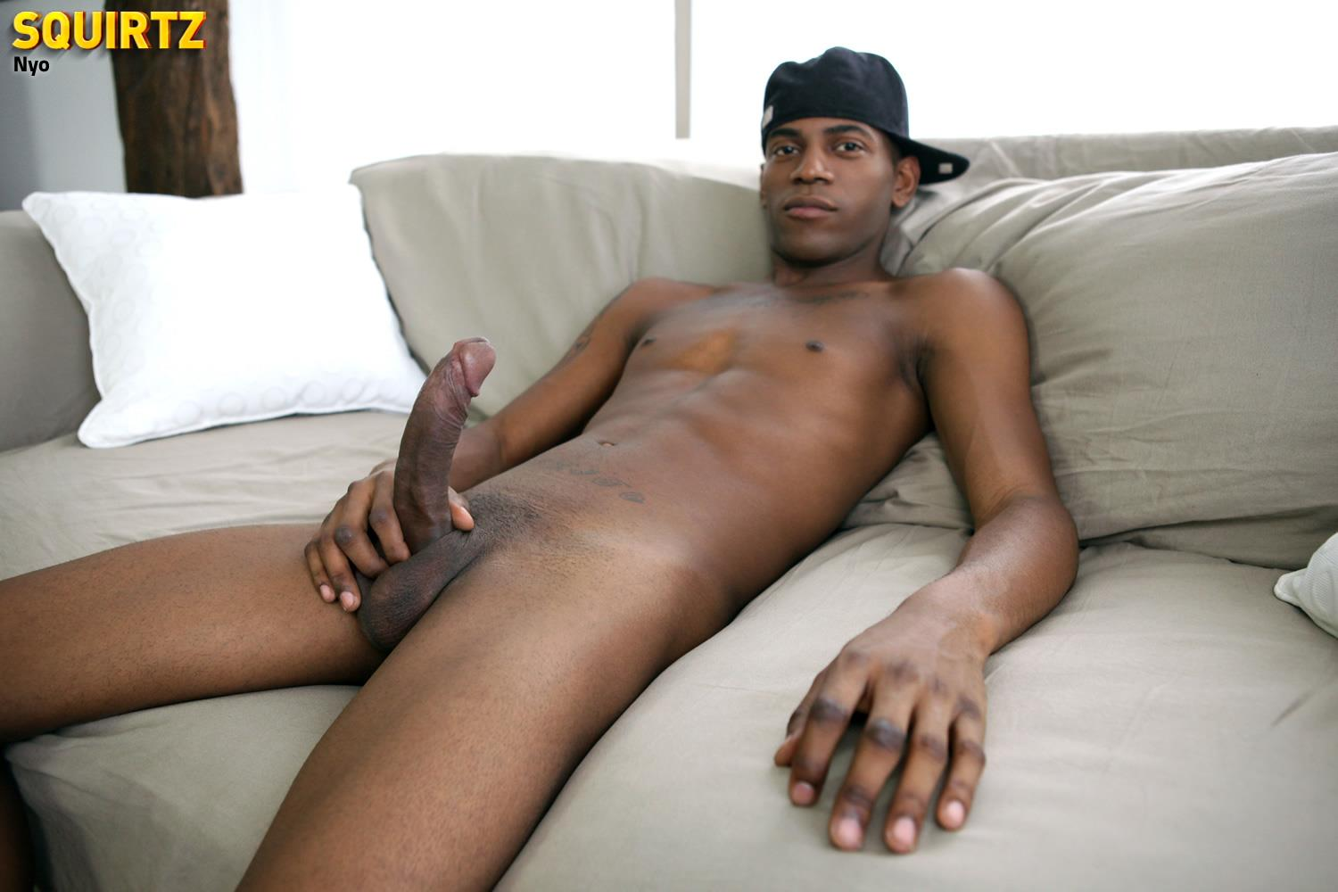 cock jerking ebony guy cums