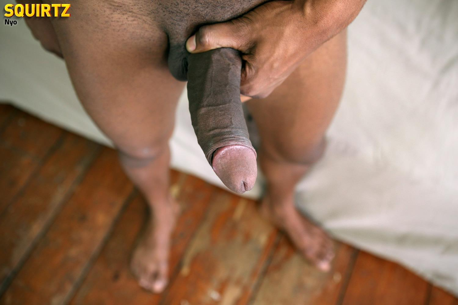 Squirtz-Nyo-Big-Uncut-Black-Cock-Jerking-Off-Cum-Shot-Amateur-Gay-Porn-23 Young Black Guy Jerking His Massive Uncut Black Cock