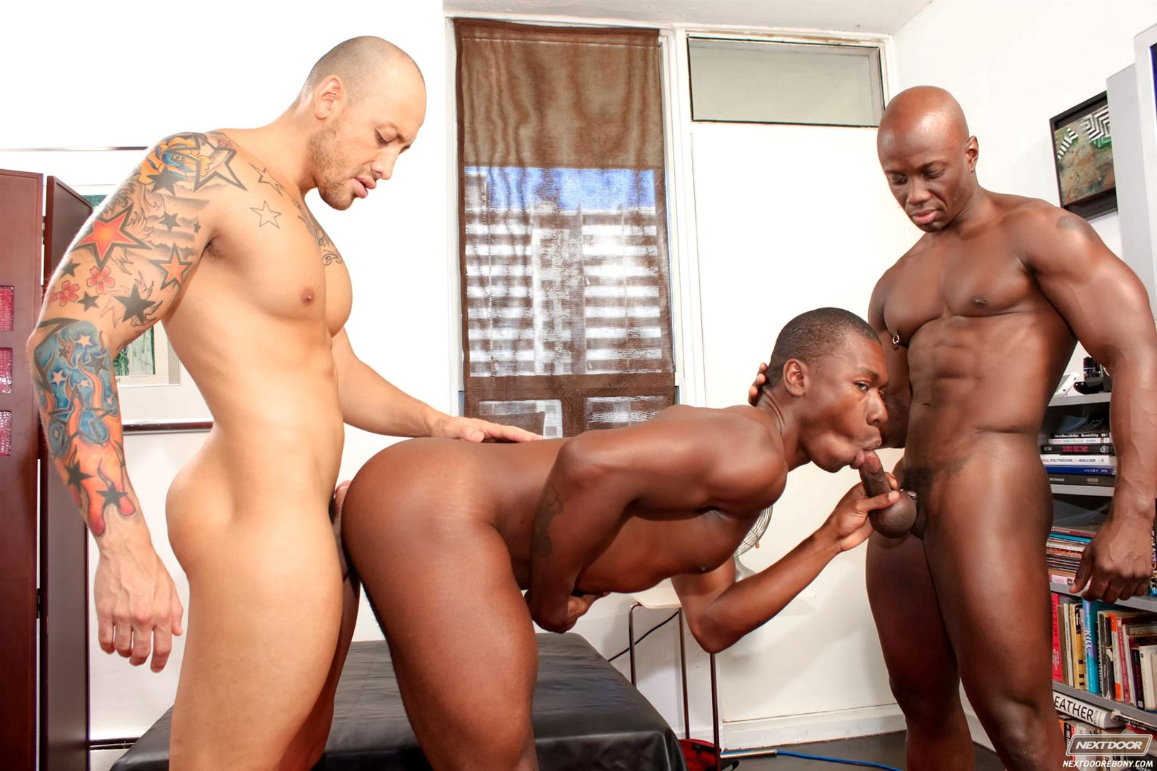 Gay three way fuck