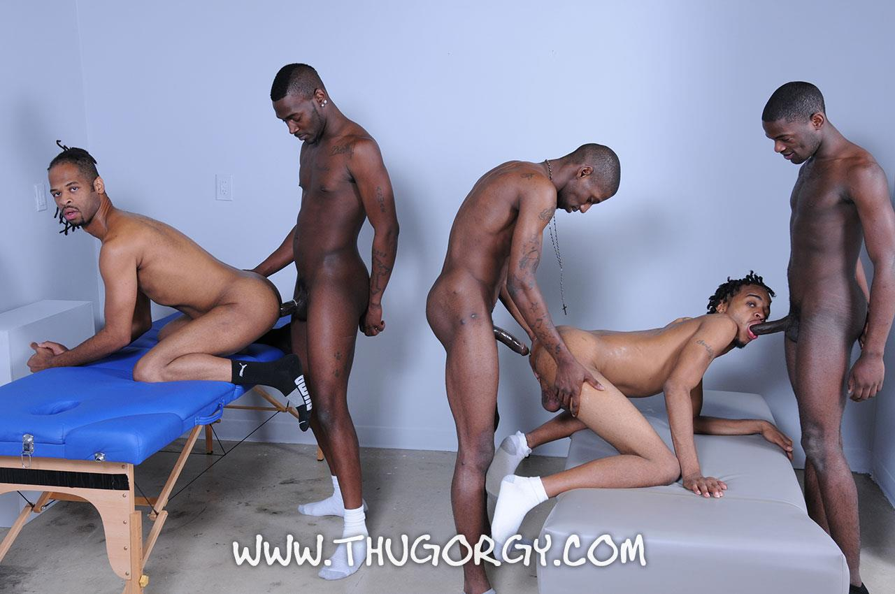 Big black dick gay orgy