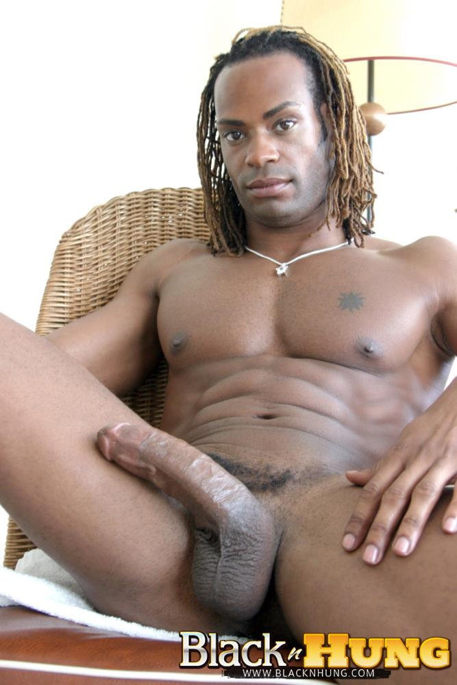 Black guy jerking big cock