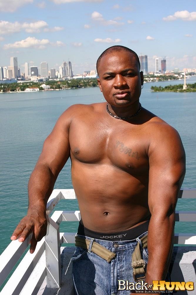 Muscley Interracial Thug Jerks Off