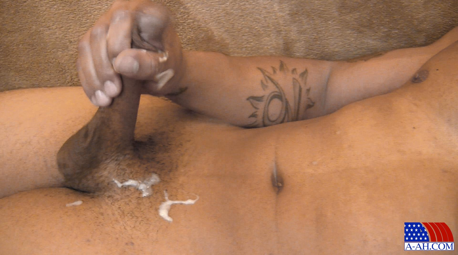 Ebony gayamateur gets cock jerked