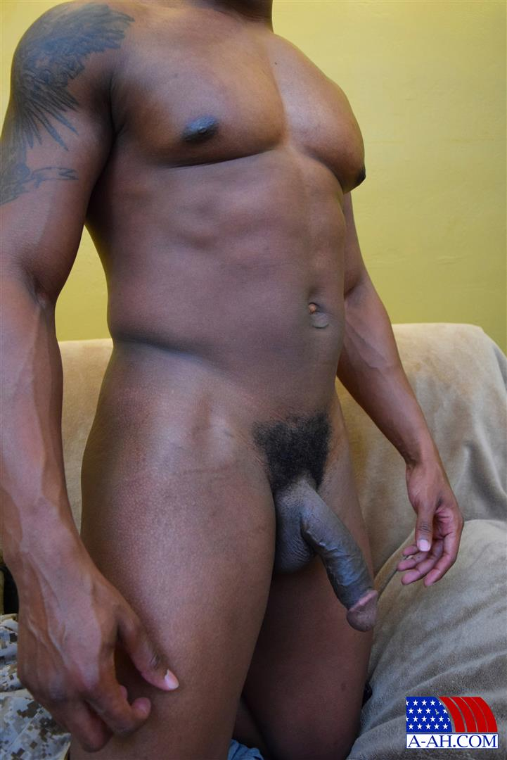 Muscular Black Handyman Jerking His Cock