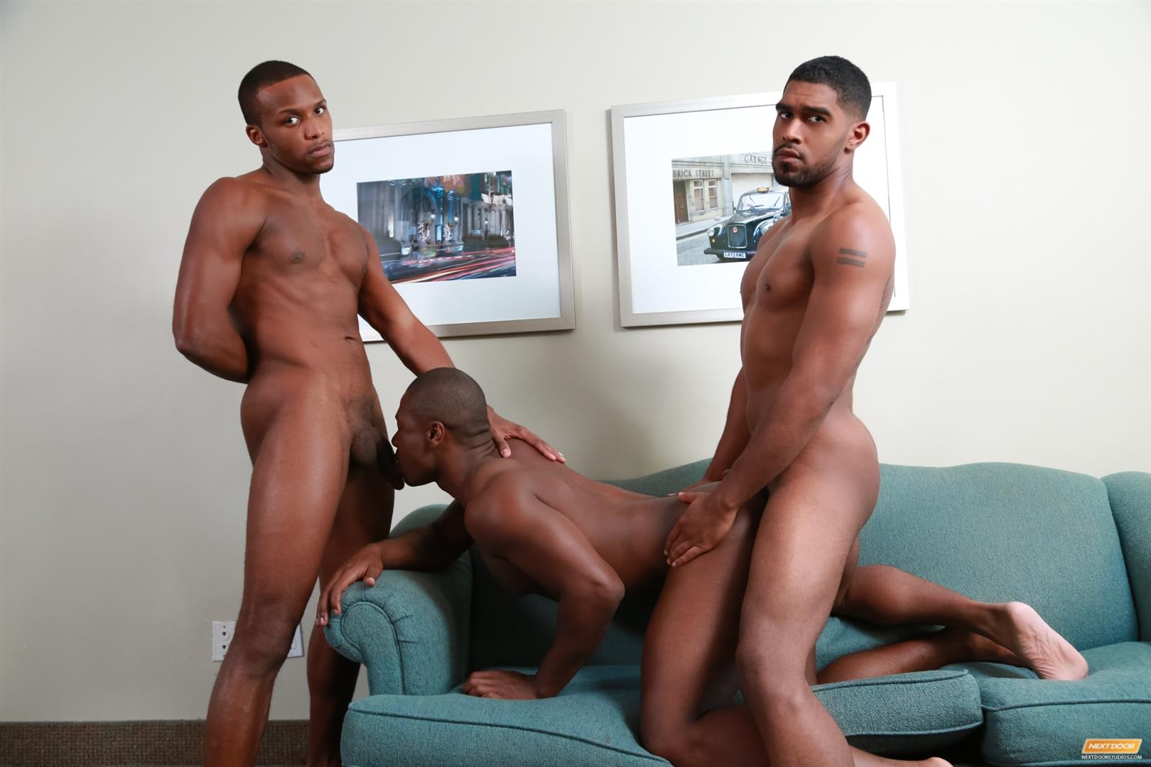 Next Door Ebony Damian Brooks and XL and Andre Donovan Black Naked Men Fucking Amateur Gay Porn 14 Three Naked Black Men, Three Big Black Cocks, One Juicy Booty