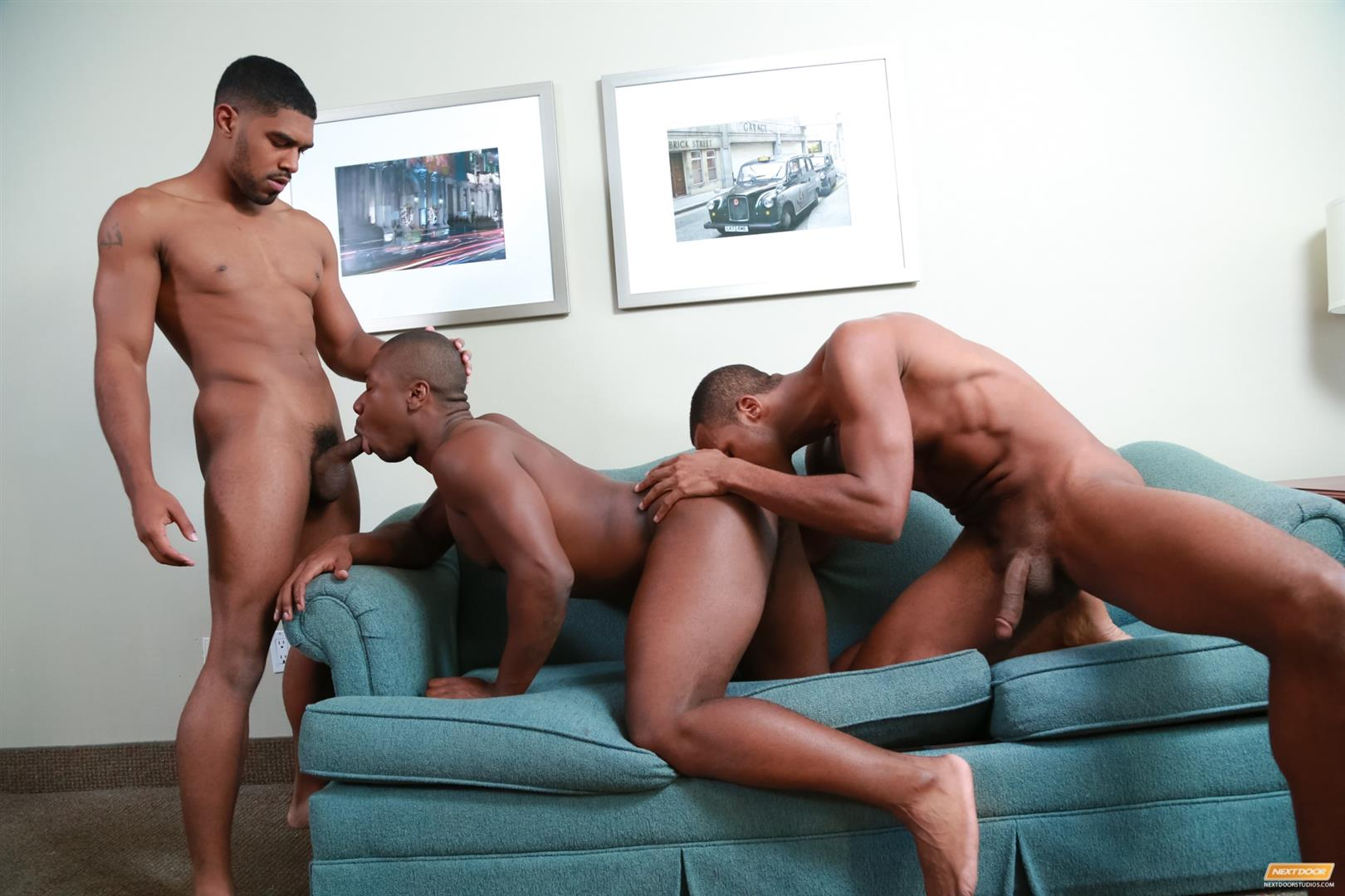 Next Door Ebony Damian Brooks and XL and Andre Donovan Black Naked Men Fucking Amateur Gay Porn 15 Three Naked Black Men, Three Big Black Cocks, One Juicy Booty