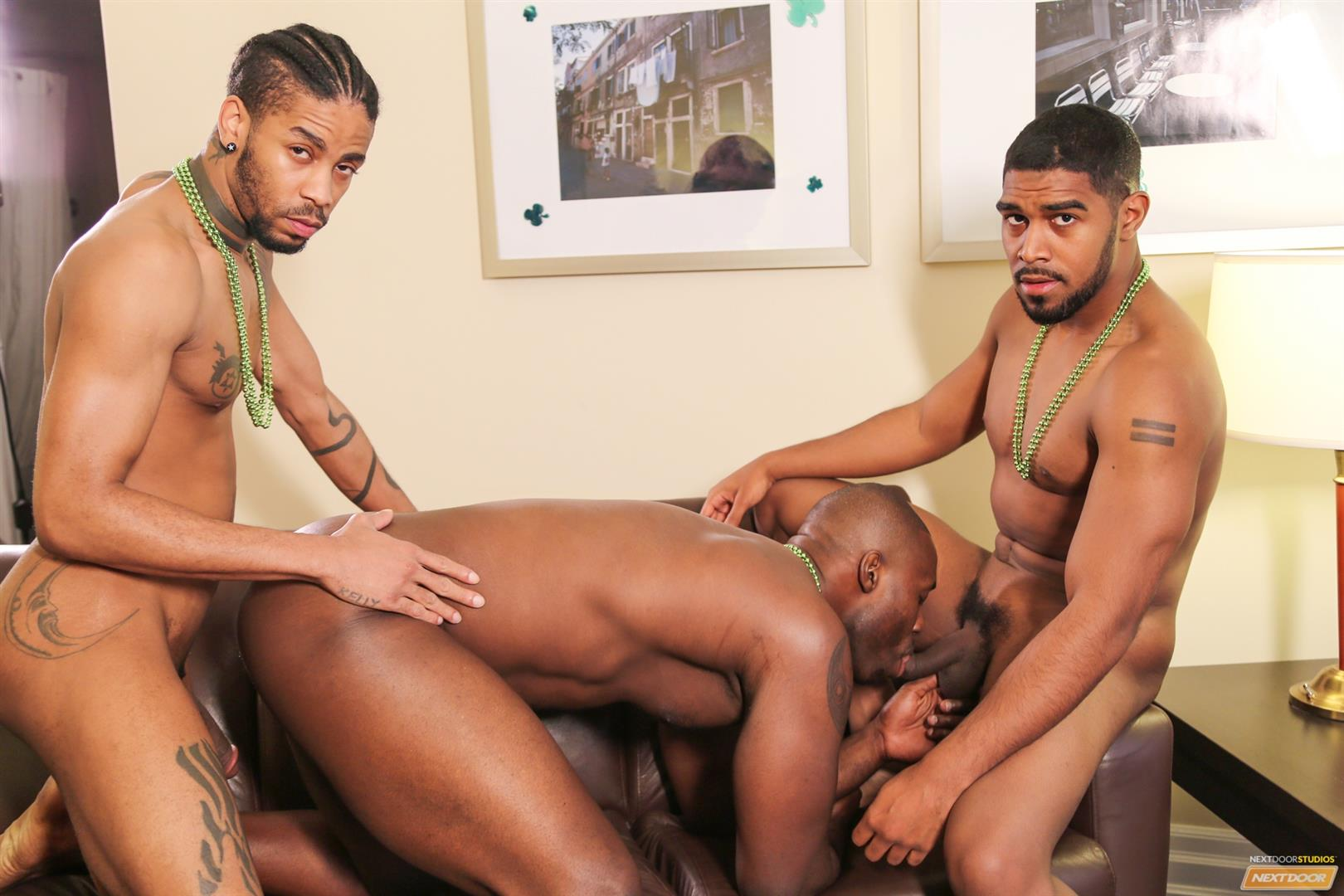 Ebony Gay Threesome Asshole Fuck