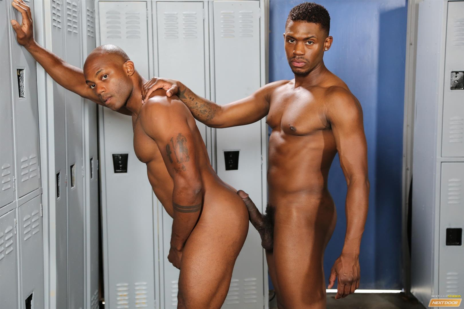 Ebony in the locker room fucked by big cock 3