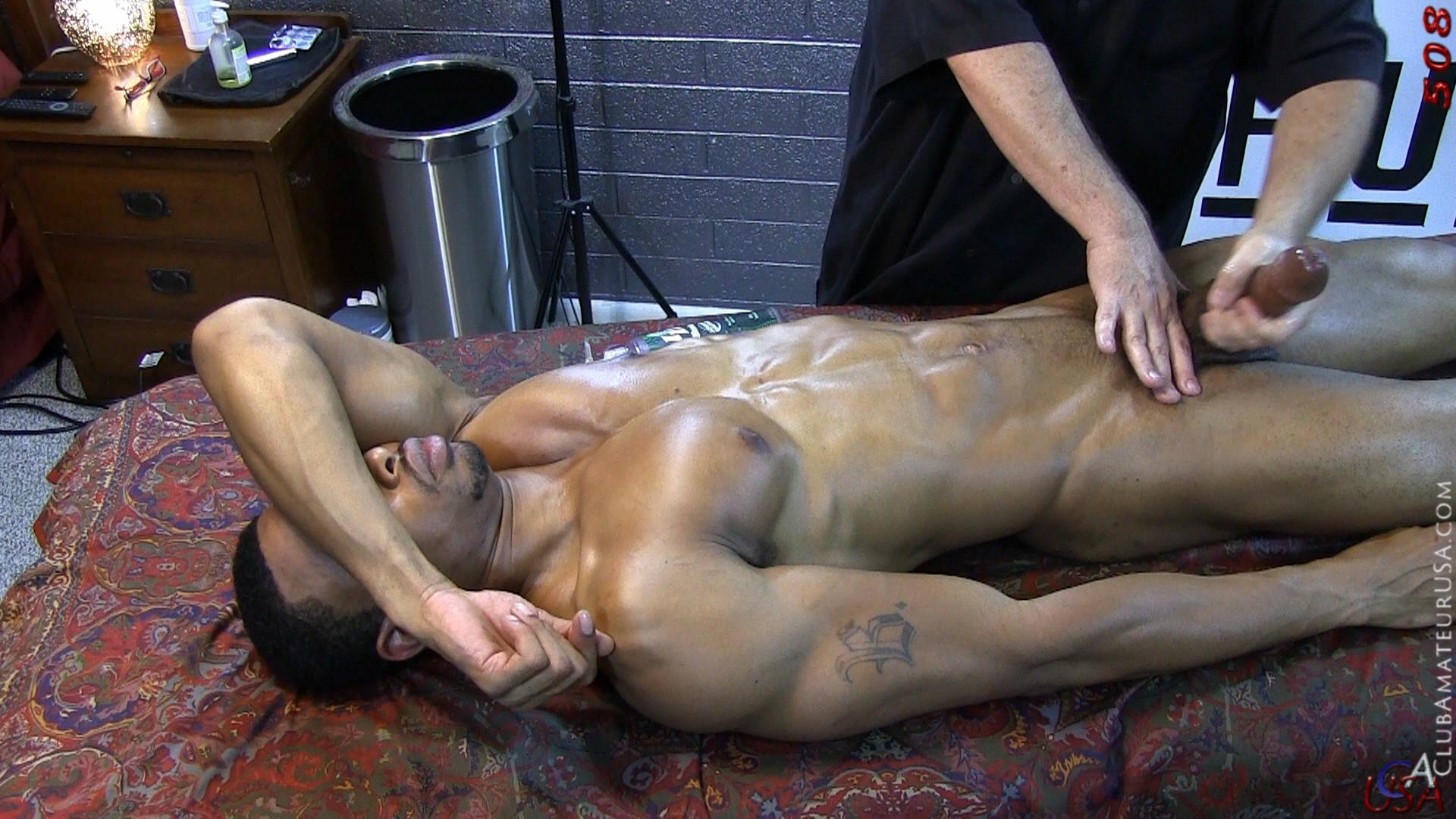 White Client Gets His Cock Jerked From Black Masseuse