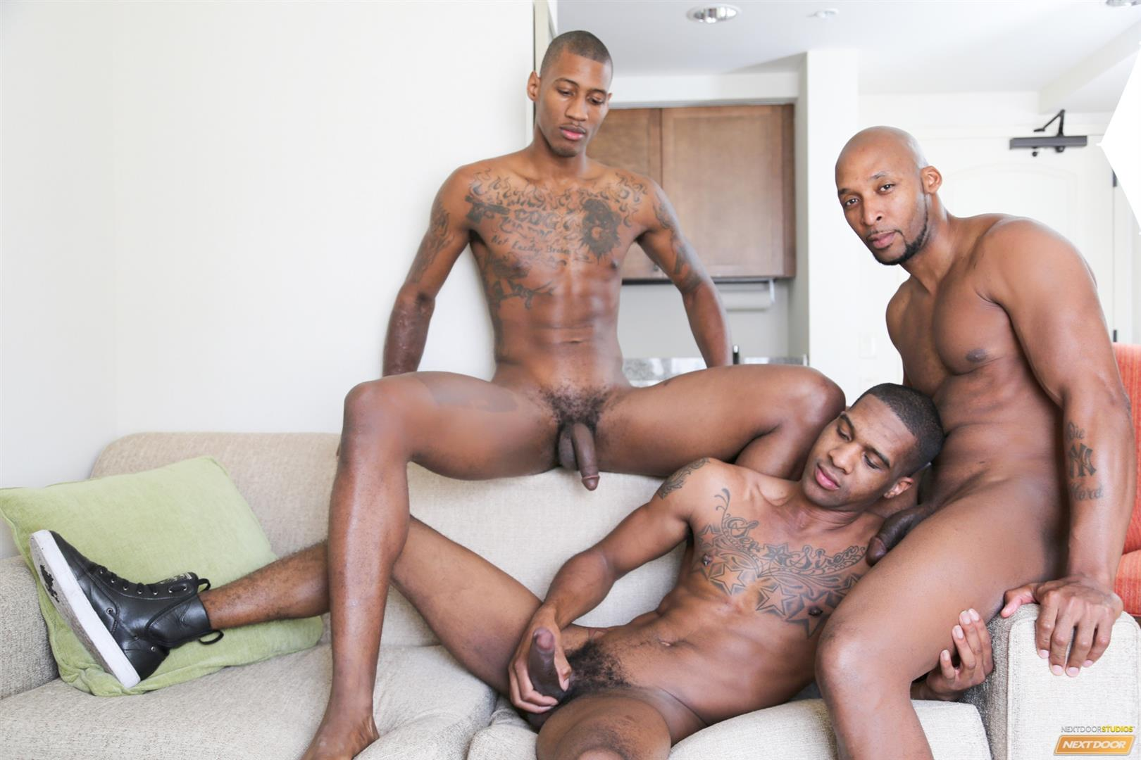 Next Door Ebony Ramsees and King B and Staxx Big Black Cock Group Sex Amateur Gay Porn 06 King B Takes Two Big Black Cocks Up The Ass For His Birthday