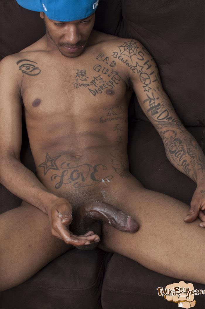Thug Boys Black Noir Big Black Cock Jerk Off Video Amateur Gay Porn 43 Straight LA Thug Black Noir Jerking His Big Black Cock
