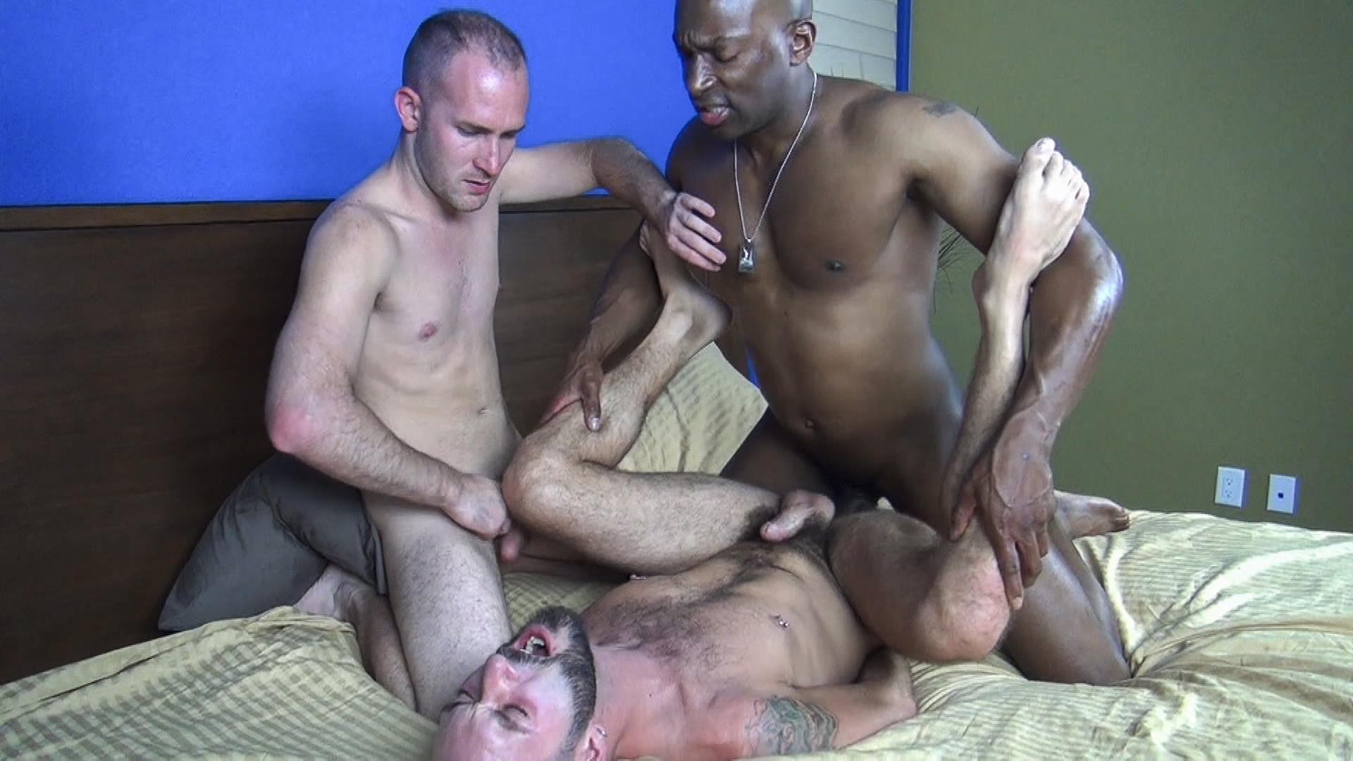 Huge Cock Bareback Fucking Between Two Hunks