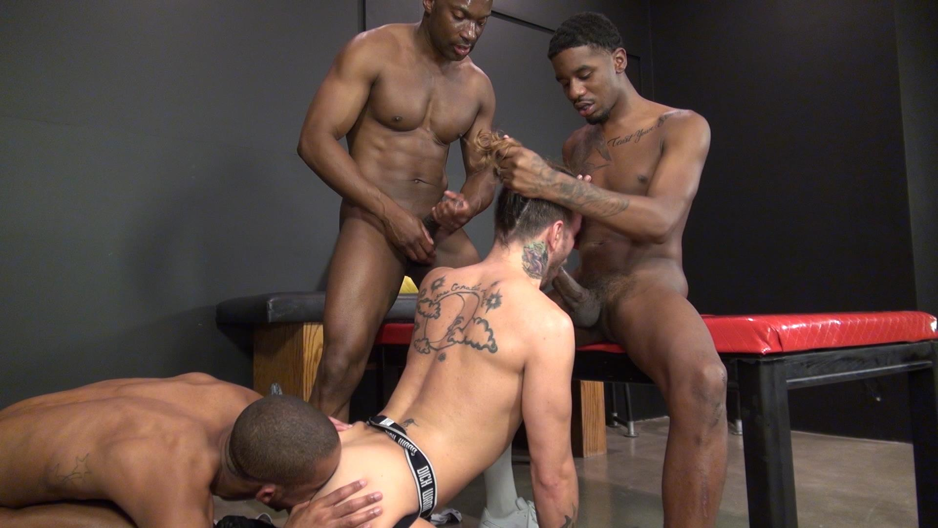 White Gay Boy Gives Interracial Blowjob To Black Stud