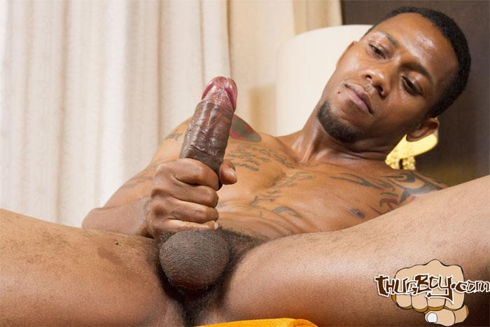 Thug Boy King Polo Big Black Uncut Cock Jerk Off Free Gay Porn 27 Tatted Thug Strokes His Big Black Uncut Cock
