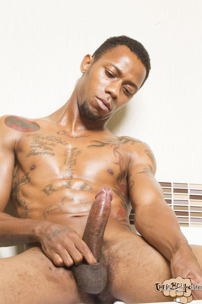 Thug Boy King Polo Big Black Uncut Cock Jerk Off Free Gay Porn 35 Tatted Thug Strokes His Big Black Uncut Cock