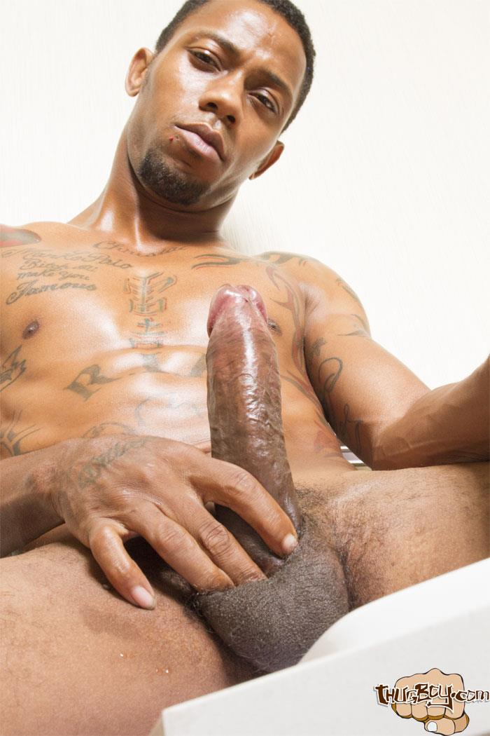 Thug Boy King Polo Big Black Uncut Cock Jerk Off Free Gay Porn 39 Tatted Thug Strokes His Big Black Uncut Cock