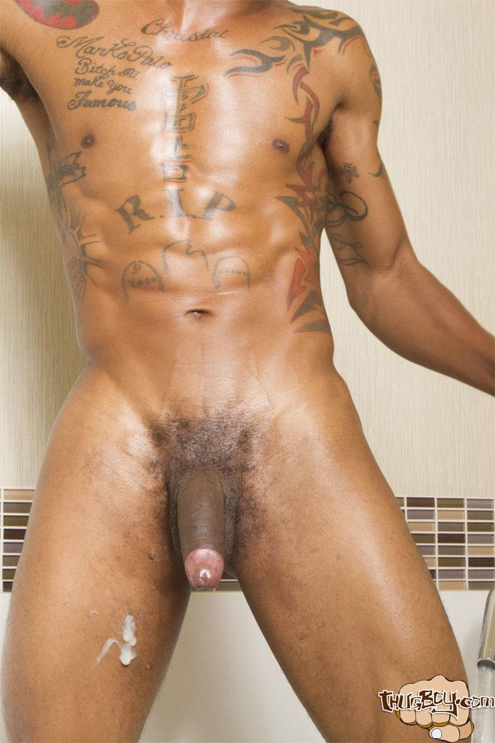 Thug Boy King Polo Big Black Uncut Cock Jerk Off Free Gay Porn 44 Tatted Thug Strokes His Big Black Uncut Cock