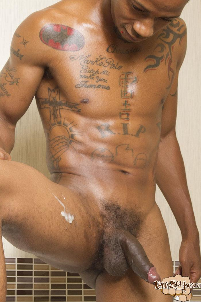 Thug Boy King Polo Big Black Uncut Cock Jerk Off Free Gay Porn 47 Tatted Thug Strokes His Big Black Uncut Cock