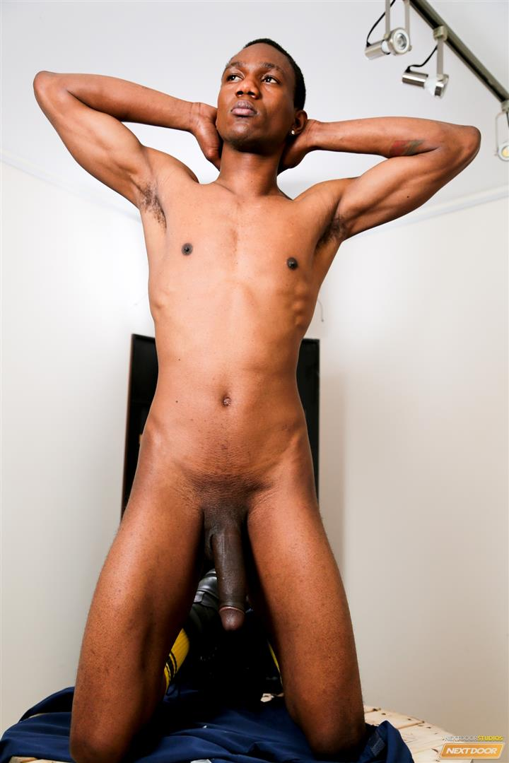 Black guy playing his uncut dick