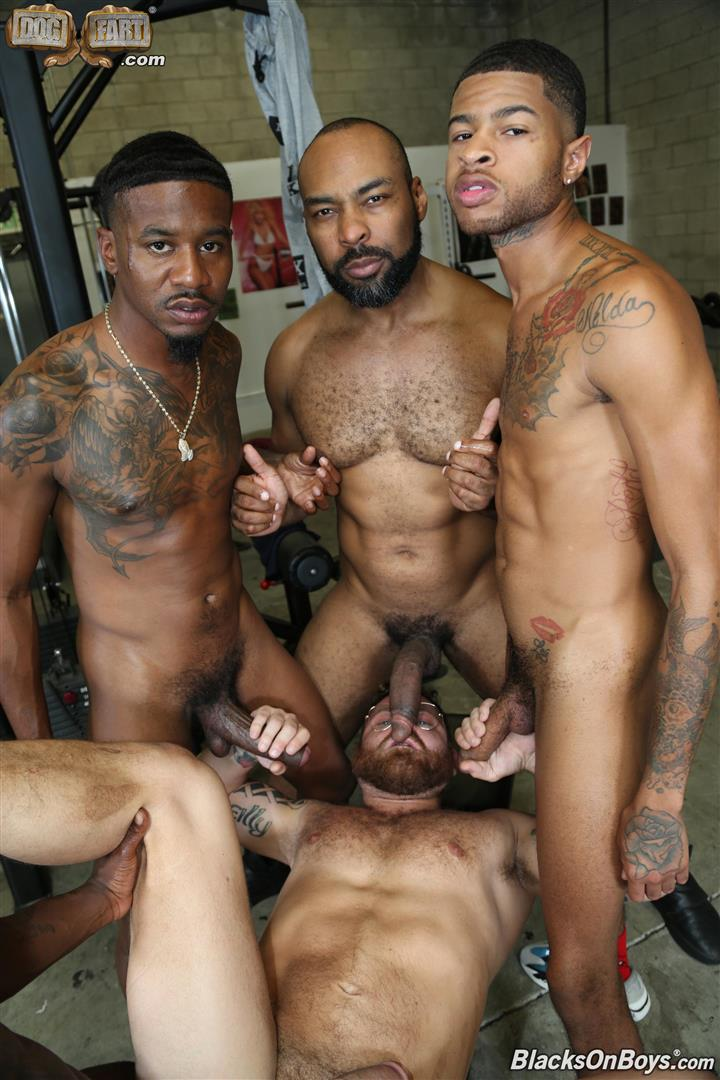 Blacks-On-Boys-Riley-Mitchel-Fame-Knockout-Leon-Redd-Ray-Diesel-Big-Black-Cock-24 Hairy Muscle Daddy Riley Mitchel Takes Four Big Black Cocks Up The Ass