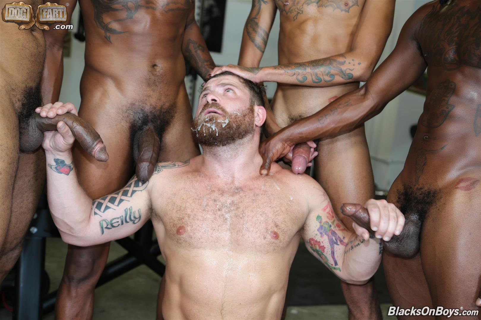 Blacks-On-Boys-Riley-Mitchel-Fame-Knockout-Leon-Redd-Ray-Diesel-Big-Black-Cock-29 Hairy Muscle Daddy Riley Mitchel Takes Four Big Black Cocks Up The Ass