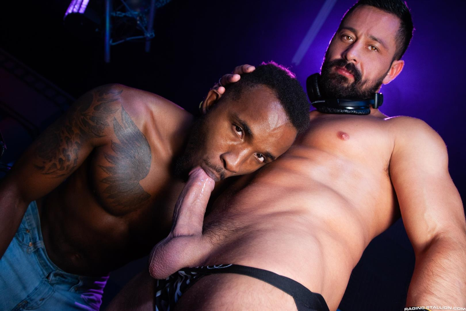 Raging-Stallion-Pheonix-Fellington-and-Cristian-Sam-Big-Black-Cocksucking-Video-10 Getting My Big Black Cock Sucked In The DJ Booth