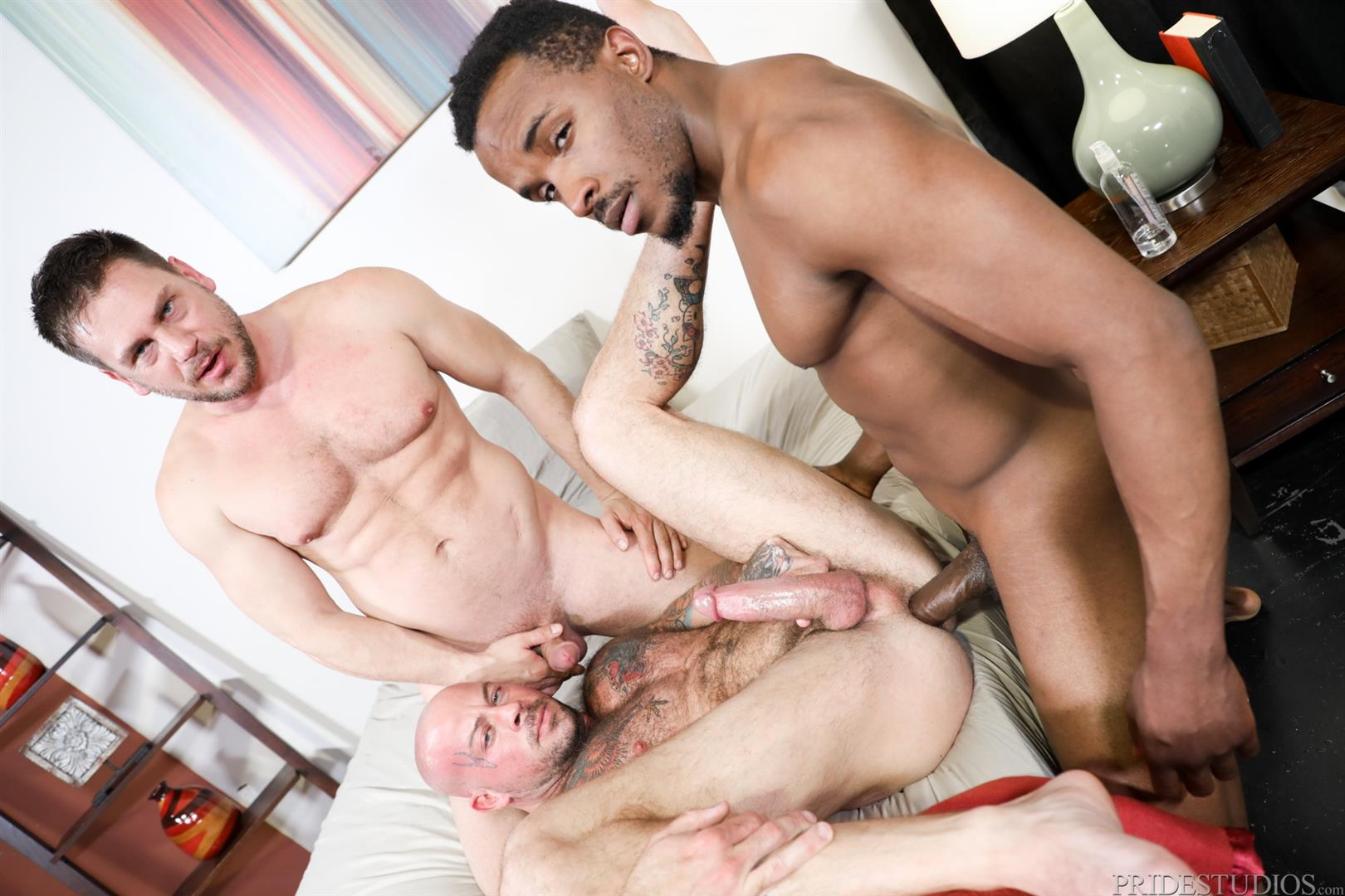Extra-Big-Dicks-Sean-Duran-and-Hans-Berlin-and-Pheonix-Fellington-Interracial-Bareback-08 Muscle Daddies Sean Duran and Hans Berlin Share Pheonix Fellington's Big Black Cock