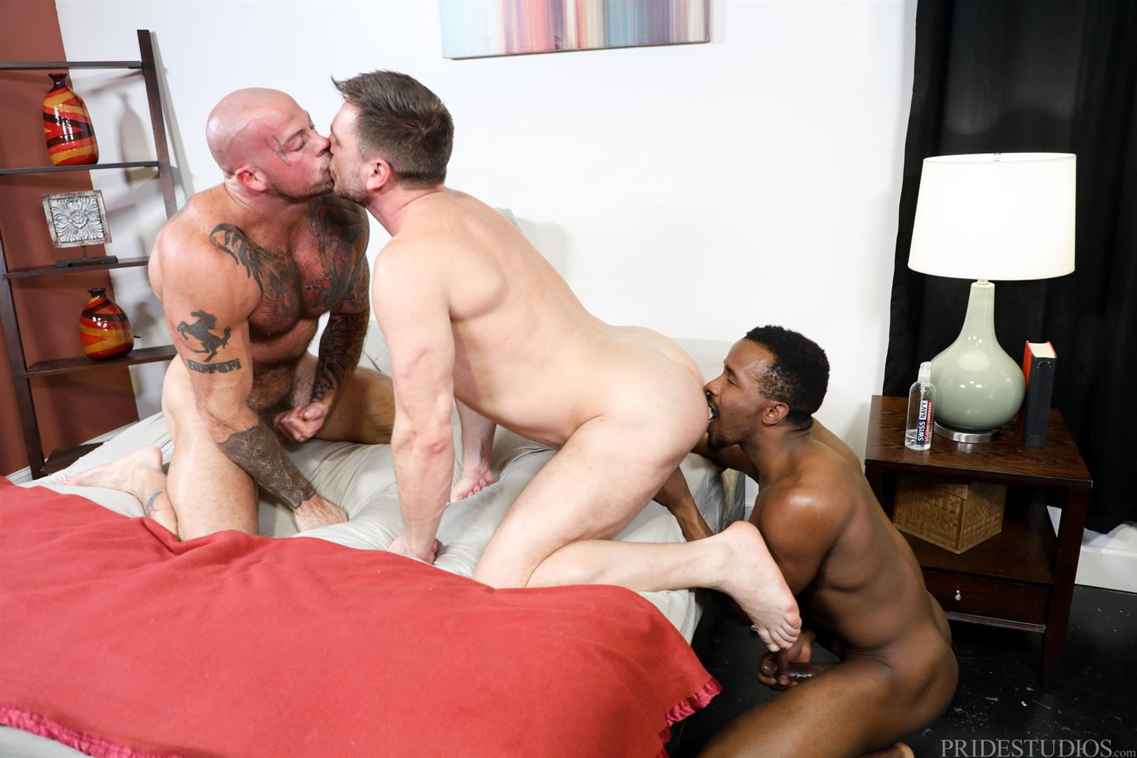 Extra-Big-Dicks-Sean-Duran-and-Hans-Berlin-and-Pheonix-Fellington-Interracial-Bareback-09 Muscle Daddies Sean Duran and Hans Berlin Share Pheonix Fellington's Big Black Cock
