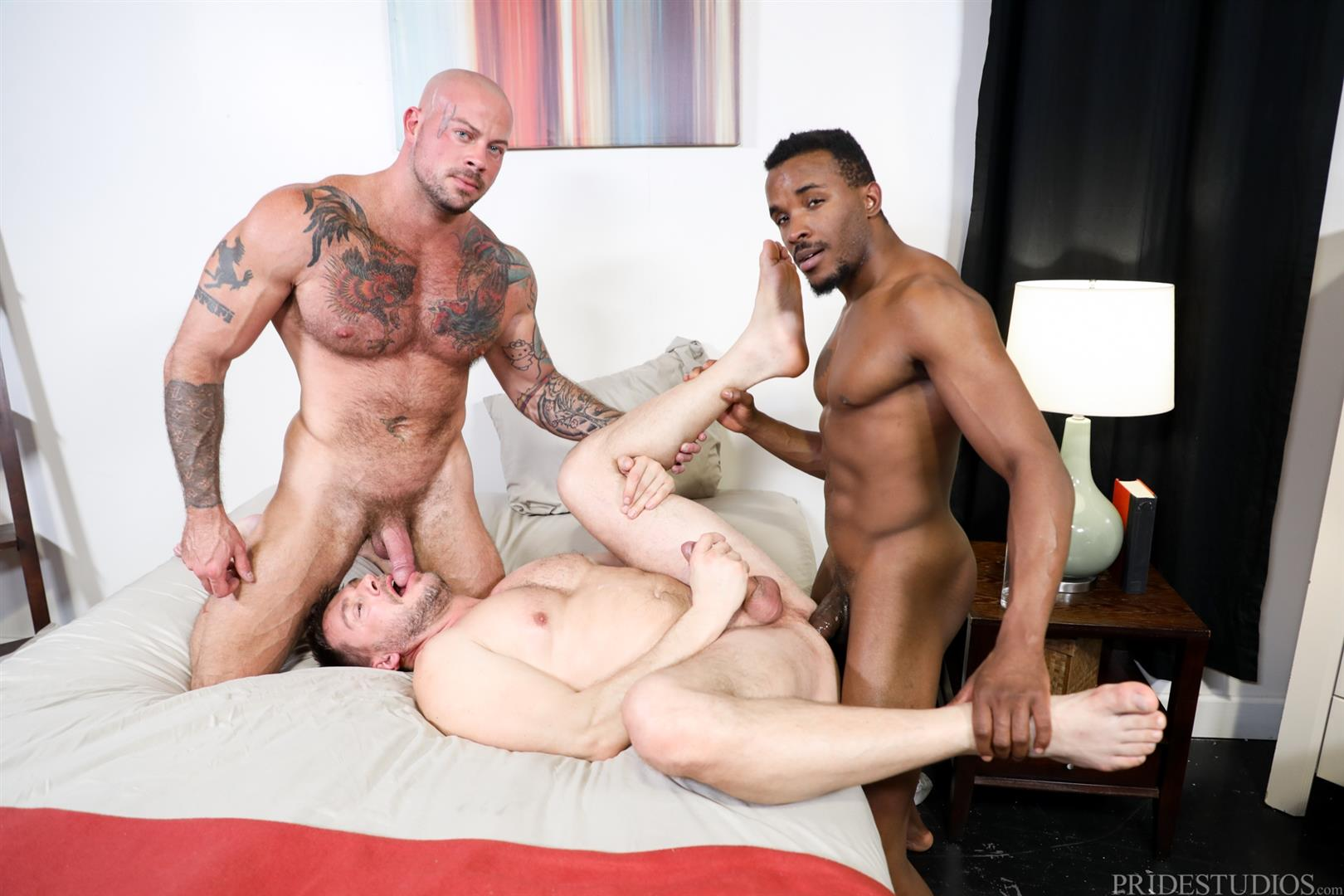 Extra-Big-Dicks-Sean-Duran-and-Hans-Berlin-and-Pheonix-Fellington-Interracial-Bareback-15 Muscle Daddies Sean Duran and Hans Berlin Share Pheonix Fellington's Big Black Cock